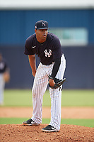 FCL Yankees pitcher Carlos Gomez (30) during a game against the FCL Phillies on July 6, 2021 at the Yankees Minor League Complex in Tampa, Florida.  (Mike Janes/Four Seam Images)