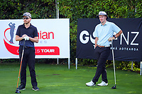 Lauchie McDonald and Kerry Mountcastle. Day one of the Brian Green Property Group NZ Super 6s Manawatu at Manawatu Golf Club in Palmerston North, New Zealand on Thursday, 25 February 2021. Photo: Dave Lintott / lintottphoto.co.nz