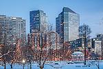 Christmas lights at dusk on Boston Common, Boston, MA, USA
