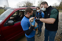 Gizmo, a dog owned by Debbie Stout of Farmington, is given a rabies vaccination Saturday, Nov. 14, 2020, by Dr. Matthew Finney (from right) with help from Venessa Goodman, a veterinarian assistant, and Caleb Landers, a receptionist, during a drive-through vaccination clinic at Country Vet Service in Farmington. The longtime business hosts the clinic and others like it as a service to the community. Visit nwaonline.com/201115Daily/ for today's photo gallery. <br /> (NWA Democrat-Gazette/Andy Shupe)