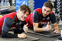 (L-R) Roque Mesa and Angel Rangel exercise in the gym during the Swansea City Training and Press Conference at The Fairwood Training Ground, Swansea, Wales, UK. Thursday 25 January 2018