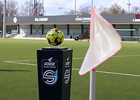 Match ball pictured before a female soccer game between Oud Heverlee Leuven and Club Brugge YLA on the 18 th and last matchday before the play offs of the 2020 - 2021 season of Belgian Womens Super League , saturday 27 th of March 2021  in Heverlee , Belgium . PHOTO SPORTPIX.BE | SPP | SEVIL OKTEM