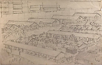 BNPS.co.uk (01202) 558833<br /> Pic: Tennants/BNPS<br /> <br /> Drawing of the camp<br /> <br /> A British prisoner of war's drawings and photographs of the building of the notorious 'Death Railway' in Burma have sold for £5,000.<br /> <br /> Captain Harry Witheford's accomplished sketches highlight the horrific ordeal endured by the captured soldiers at the hands of their Japanese captors in World War Two.<br /> <br /> The so-called Death Railway along the River Kwai claimed the lives of 12,000 Allied PoWs who were subjected to forced labour during its construction.
