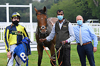 Winner of The Swallowcliffe Handicap (Div 2)  Willy Nilly ridden by Hector Crouch and trained by Clive Cox in the Winners enclosure during Horse Racing at Salisbury Racecourse on 13th August 2020