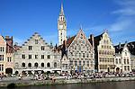 Belgium, Oost Vlaanderen, Ghent: View along the Graslei