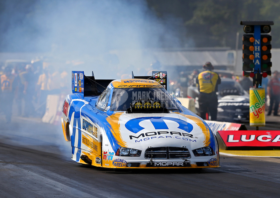 Aug 15, 2014; Brainerd, MN, USA; NHRA funny car driver Matt Hagan during qualifying for the Lucas Oil Nationals at Brainerd International Raceway. Mandatory Credit: Mark J. Rebilas-