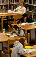 Students at Myers Park High School in Charlotte, NC, (Mecklenburg County) taking tests. Myers Park High School is part of CMS, Charlotte-Mecklenburg Schools, a public school system that is the second-largest school district in North Carolina and the 20th-largest school system in the nation.