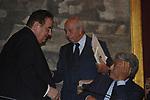 """LAMBARTO DINI CON MASSIMO D'ALEMA E GIANCARLO ELIA VALORI  ALLA PRESENTAZIONE LIBRO """"GEOPOLITICA DELLO SPAZIO""""  DI GIANCARLO ELIA VALORI - PROTOMOTECA CAMPIDOGLIO ROMA 2006"""