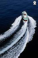 Speedboat and wake in the Mediterranean sea, France (Licence this image exclusively with Getty: http://www.gettyimages.com/detail/82406738 )