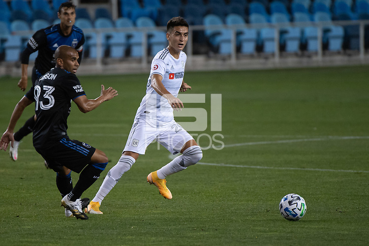 SAN JOSE, CA - NOVEMBER 04: Eduard Atuesta #20 of the Los Angeles FC dribbles the ball during a game between Los Angeles FC and San Jose Earthquakes at Earthquakes Stadium on November 04, 2020 in San Jose, California.