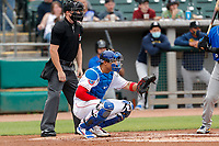 Tennessee Smokies catcher Miguel Amaya (30) on defense against the Biloxi Shuckers on May 18, 2021, at Smokies Stadium in Kodak, Tennessee. (Danny Parker/Four Seam Images)