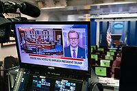 Seen on a monitor January 13, 2021, in the White House Press Briefing Room in Washington, DC, the U.S. House of Representatives votes on the impeachment of U.S. President Donald Trump. Credit: Chris Kleponis / Pool via CNP /MediaPunch