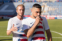 CARSON, CA - FEBRUARY 1: Jackson Yueill #6 celebrates with Sebastian Lletget #17 of the United States after the match during a game between Costa Rica and USMNT at Dignity Health Sports Park on February 1, 2020 in Carson, California during a game between Costa Rica and USMNT at Dignity Health Sports Park on February 1, 2020 in Carson, California.