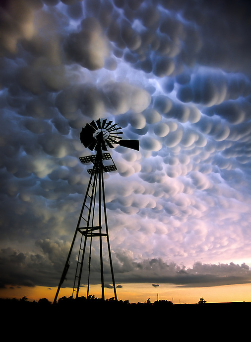 A dramatic display of mammatus clouds herald the approach of a severe thunderstorm near Woodward Oklahoma in June.