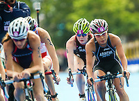 04 AUG 2012 - LONDON, GBR - Lucy Hall (GBR) of Great Britain (centre) cycles at the back of the lead pack during the women's London 2012 Olympic Games Triathlon in Hyde Park, London, Great Britain (PHOTO (C) 2012 NIGEL FARROW)