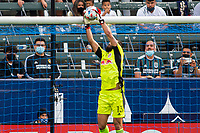 CARSON, CA - APRIL 25: Carlos Miguel Coronel #13 of the New York Red bulls with a save during a game between New York Red Bulls and Los Angeles Galaxy at Dignity Health Sports Park on April 25, 2021 in Carson, California.