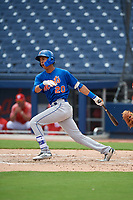 GCL Mets designated hitter Mark Vientos (15) follows through on a swing during the second game of a doubleheader against the GCL Nationals on July 22, 2017 at The Ballpark of the Palm Beaches in Palm Beach, Florida.  GCL Mets defeated the GCL Nationals 4-1.  (Mike Janes/Four Seam Images)