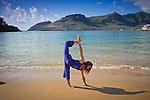 Yoga, Kalapaki Beach on Kauai Island, Hawaii