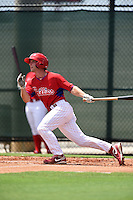 GCL Phillies outfielder Chase Harris (11) at bat during a game against the GCL Pirates on June 26, 2014 at the Carpenter Complex in Clearwater, Florida.  GCL Phillies defeated the GCL Pirates 6-2.  (Mike Janes/Four Seam Images)