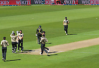 NZ's Trent Boult celebrates dismissing Joshua Philippe during the 5th international men's T20 cricket match between the New Zealand Black Caps and Australia at Sky Stadium in Wellington, New Zealand on Sunday, 7 March 2021. Photo: Dave Lintott / lintottphoto.co.nz