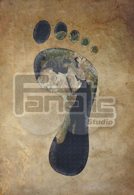 Illustrative image of carbon footprint against colored background