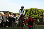 April 12, 2014: #1 Danza with jockey Joe Bravo in the winners circle after winning the Arkansas Derby at Oaklawn Park in Hot Springs, AR. Justin Manning/ESW/CSM