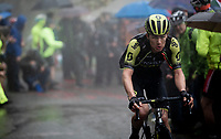 Christopher Juul-Jensen (DEN/Mitchelton-Scott) up the extremely wet, cold & misty Cole di Mortirolo <br /> <br /> Stage 16: Lovere to Ponte di Legno (194km)<br /> 102nd Giro d'Italia 2019<br /> <br /> ©kramon