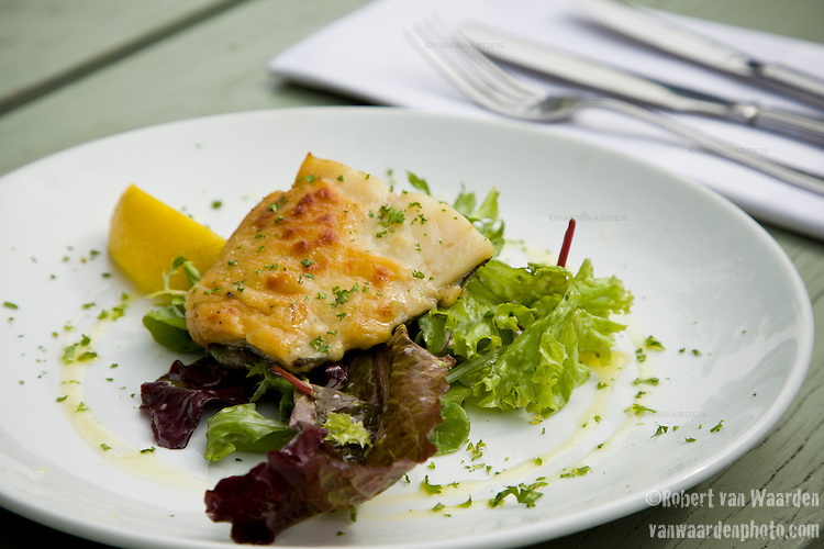 A trout appetizer served at a restaurant in Cavendish, Suffolk, the United Kingdom.