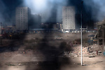 The demolition of Grozny's old market, which was a meeting point for locals befit and during two wars in Chechnya, but did not survive the city's reconstruction. Grozny, Chechnya, Russia, 2009