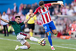 Yannick Ferreira Carrasco of Atletico de Madrid (R) fights for the ball with Aitor Bunuel Redrado of Osasuna (L) during the La Liga match between Atletico de Madrid vs Osasuna at Estadio Vicente Calderon on 15 April 2017 in Madrid, Spain. Photo by Diego Gonzalez Souto / Power Sport Images