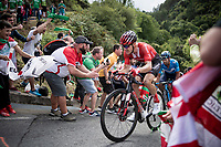 Nikias Arndt (DEU/Sunweb) up the brutal (last climb) Alto de Arraiz (up to 25% gradients!), 7km from the finish <br /> <br /> Stage 12: Circuito de Navarra to Bilbao (171km)<br /> La Vuelta 2019<br /> <br /> ©kramon
