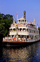 Mississippi Steam Boat with tourists in Disney World, Florida, USA