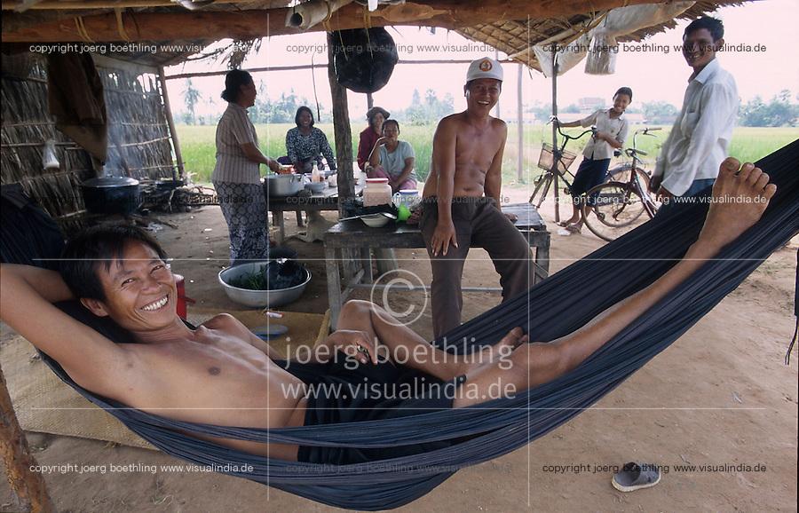 CAMBODIA Mekong River, farmer relax in hammock / KAMBODSCHA Mekong Fluss, Bauer entspannt sich inn Haengematte
