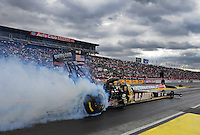 Feb. 12, 2012; Pomona, CA, USA; NHRA top fuel dragster driver Tony Schumacher during the Winternationals at Auto Club Raceway at Pomona. Mandatory Credit: Mark J. Rebilas-