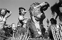 Carnevale di Vercelli. Un carro allegorico raffigurante il lavoro nei campi --- Carnival of Vercelli. A carnival float representing work in the fields