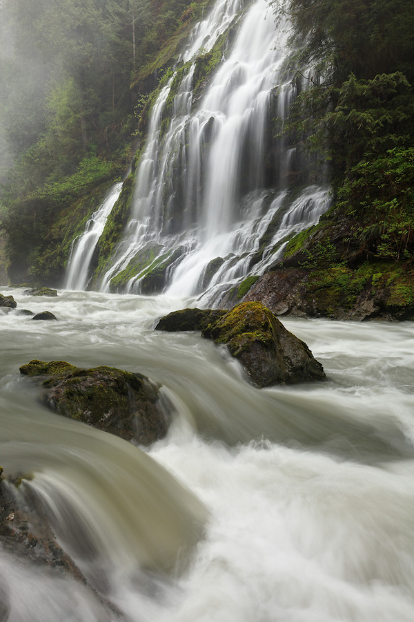 Un-named waterfalls fall into the Boulder River, Boulder River Wilderness, Mount Baker-Snoqualmie National Forest, Washington, USA
