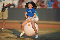 A young fan competes in a bouncing ball race between innings of the game between the Dry Pond Blue Sox and the Mooresville Spinners at Moor Park on July 2, 2020 in Mooresville, NC.  The Spinners defeated the Blue Sox 9-4. (Brian Westerholt/Four Seam Images)
