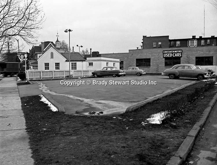 Pittsburgh PA:  View Marbett's Restaurant and Constantine Motors in the East Liberty section of Pittsburgh.