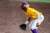 LSU Tigers first baseman Tre Morgan (18) in action against the Tennessee Volunteers on Robert M. Lindsay Field at Lindsey Nelson Stadium on March 28, 2021, in Knoxville, Tennessee. (Danny Parker/Four Seam Images)