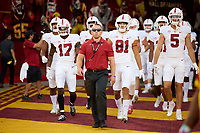 LOS ANGELES, CA - SEPTEMBER 11: Matt Gebert leads the Stanford Cardinal receivers and backs out to the field for warmups before a game between University of Southern California and Stanford Football at Los Angeles Memorial Coliseum on September 11, 2021 in Los Angeles, California.