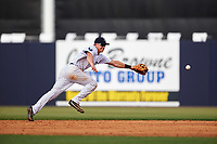Tampa Yankees second baseman Nick Solak (39) makes an attempt on a base hit during the first game of a doubleheader against the Bradenton Marauders on April 13, 2017 at George M. Steinbrenner Field in Tampa, Florida.  Bradenton defeated Tampa 4-1.  (Mike Janes/Four Seam Images)
