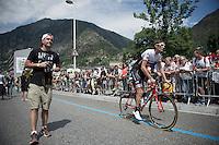Frank Schleck (LUX/Trek-Segafredo) to sign-in of stage 10: Escaldes-Engordany (AND) - Revel (FR)<br /> 103rd Tour de France 2016