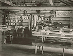 Scan of vintage print. Negative file #95-0232B #9. Camp Allagash Dining Room circa 1950's. Camp Allagash, Moosehead Lake, ME.