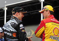 Feb 22, 2009; Fontana, CA, USA; NASCAR Sprint Cup Series driver Matt Kenseth (left) talks with Kevin Harvick prior to the Auto Club 500 at Auto Club Speedway. Mandatory Credit: Mark J. Rebilas-