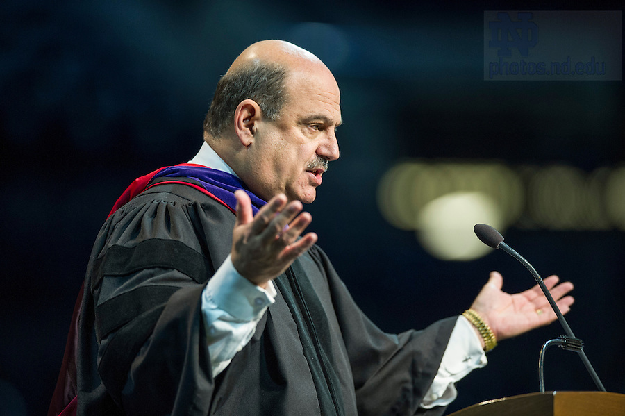 May 16, 2015; Barry Salzberg, chief executive officer, Deloitte Touche Tohmatsu Limited, delivers the commencement address during the Mendoza College of Business Graduate Business Diploma Ceremony at the Purcell Pavilion. (Photo by Barbara Johnston/University of Notre Dame)