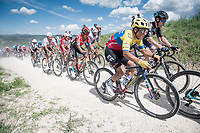 """Jonathan Klever Caicedo (ECU/EF Education - Nippo) over the first gravel sector of the day. Only a few 100 meters from this photo he would crash out of the Giro...<br /> <br /> 104th Giro d'Italia 2021 (2.UWT)<br /> Stage 11 from Perugia to Montalcino (162km)<br /> """"the Strade Bianche stage""""<br /> <br /> ©kramon"""