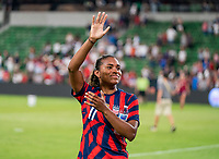 AUSTIN, TX - JUNE 16: Catarina Macario #11 of the USWNT waves to the crowd during a game between Nigeria and USWNT at Q2 Stadium on June 16, 2021 in Austin, Texas.