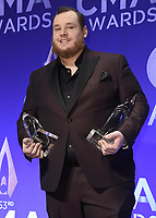 NASHVILLE, TN - NOVEMBER 13:  Luke Combs in the press room at the 53rd Annual CMA Awards at the Bridgestone Arena on November 13, 2019 in Nashville, Tennessee. (Photo by Scott Kirkland/PictureGroup)