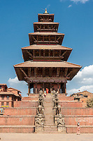 Bhaktapur, Nepal.  Nyatapola Temple, Taumadhi Square.  Guardians line the Stairs to the  Temple:  Rajput Wrestler-guardians Jayamel (left) and Phattu (right), Elephants, Lions, Griffins, and Hindu Goddesses Baghini and Singhini.    The temple survived the April 2015 earthquake virtually undamaged.