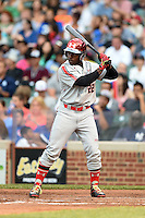 Alonzo Jones, Jr. (22) of Columbus High School in Columbus, Georgia during the Under Armour All-American Game on August 16, 2014 at Wrigley Field in Chicago, Illinois.  (Mike Janes/Four Seam Images)